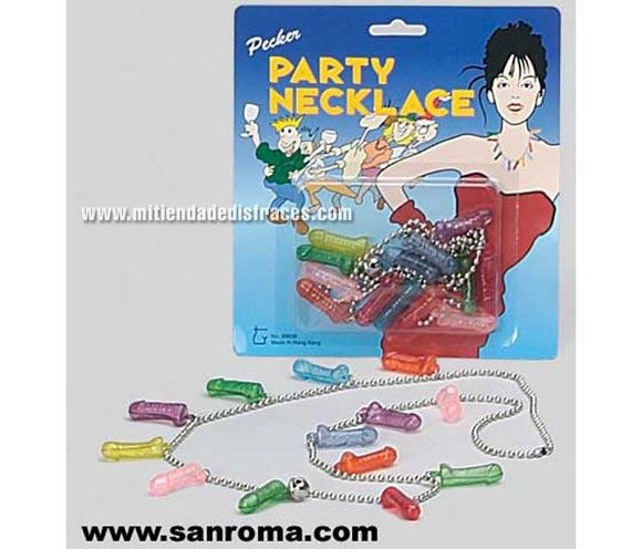 Collar Penes. Atractivo collar con penes de colores ideal para Despedidas.
