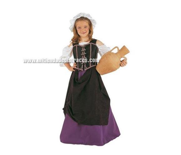 Disfraz de Tabernera Medieval infantil Deluxe. Hecho en España. Disponible en varias tallas. Incluye camisa, falda, gorro y corpiño. Disfraz de Mesonera o Posadera.