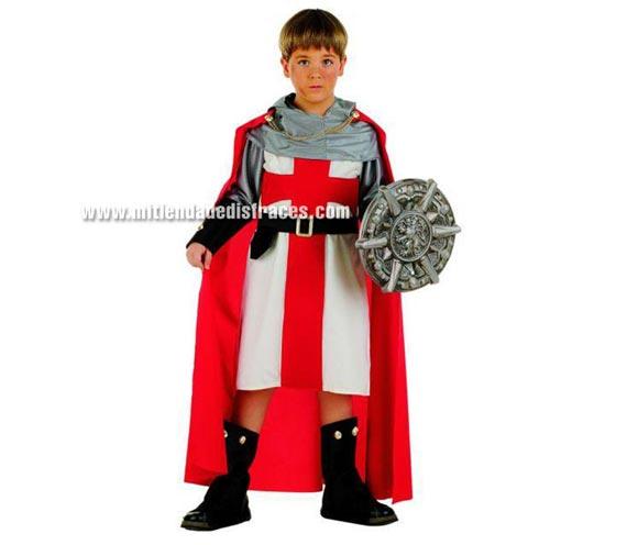 Disfraz de Templario Medieval infantil Deluxe. Hecho en España. Disponible en varias tallas. Incluye capa, cinturón, cubrebotas, casaca y capucha.