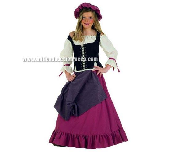 Disfraz de Mesonera Medieval infantil Deluxe. Hecho en España. Disponible en varias tallas. Incluye camisa, falda, gorro y corpiño. Disfraz de Tabernera. Disfraz de Posadera.