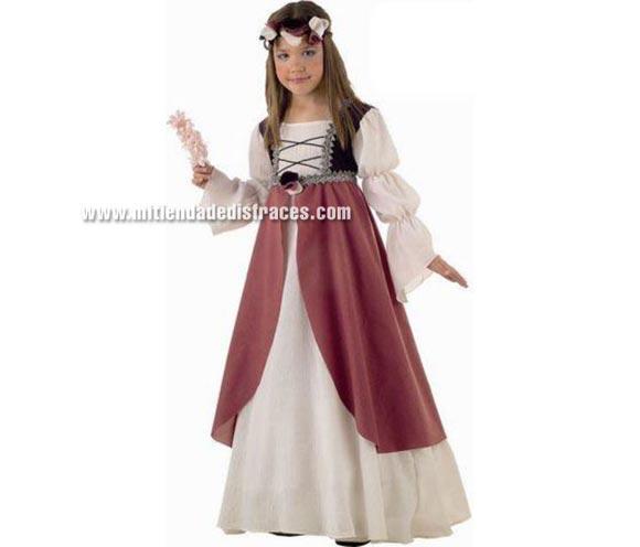 Disfraz de Clarisa Medieval infantil Deluxe. Hecho en España. Disponible en varias tallas. Incluye vestido y cinta de la cabeza.
