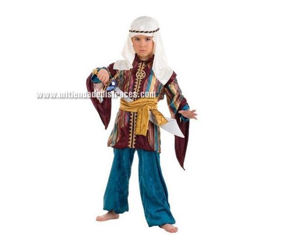 Disfraz de Tuareg Turquesa infantil Deluxe. Hecho en España. Disponible en varias tallas. Incluye camisa, pantalón, cinturón y pañuelo de la cabeza. Espada NO incluida. Disfraz de Paje para Navidad.