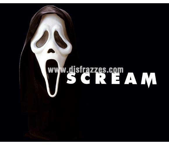 Careta con capucha de Scream. La auténtica máscara de Scream. Máscara o Careta de Halloween de material blando, no es rígida.