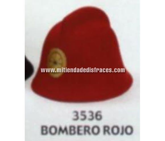Sombrero de Bombero de color rojo. Buena calidad, fabricado artesanalmente en España. Posibilidad de ajuste de precio para grupos. También disponible en color negro.
