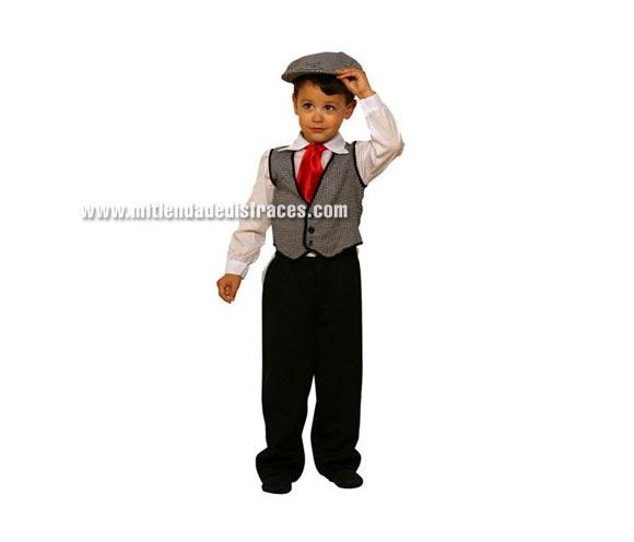 Disfraz de Madrileño niño talla de 3 a 4 años. Incluye pantalón, camisa, chaleco, pañuelo y gorra.