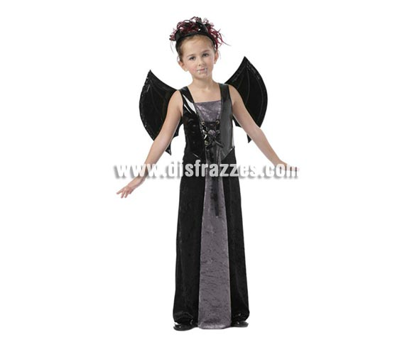 Disfraz de Vampiresa intantil para Halloween. Talla de 7 a 9 aos. Alas incluidas. ste disfraz de Halloween es ideal para celebrar la Fiesta de la Noche de las Brujas en Pub's, Discotecas, Casas particulares,  Restaurantes o Colegios y ayudar a crear un ambiente terrorfico y tenebroso indispensable para la Noche de Halloween la cual se celebra la vspera de Todos los Santos.