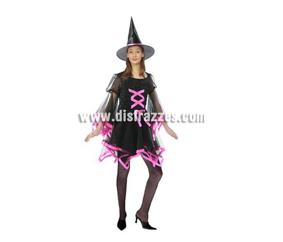 Disfraz de Bruja con lazo rosa adulta para Halloween. Talla estándar M-L = 38/42. Disfraz de Halloween barato que incluye el vestido y el sombrero.