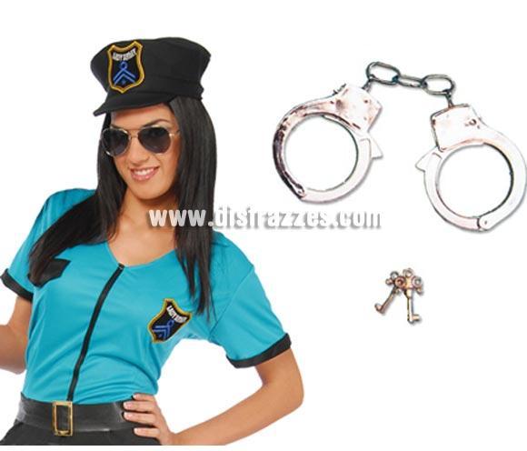Esposas de metal ideal como complemento de tu disfraz de Policía, de Presos o de Sado.
