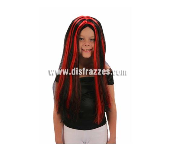 Peluca de Bruja roja y negra infantil para Halloween. También es buena para chicas adultas. Peluca de Morticia infantil roja y negra.
