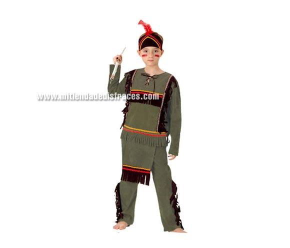 Disfraz de Indio Económico talla de 7 a 9 años. Incluye camisa, pantalón con mandil y tocado. Lanza NO incluida, podrás verla en la sección de Complementos.