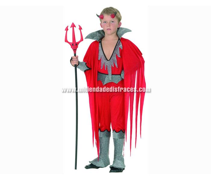 Disfraz de Diablo o Demonio económico talla de 7 a 9 años. Incluye mono con cubrebotas, capa con cuello, cuernos y brazalete. Tridente NO incluido, podrás verlo en la sección de Complementos.