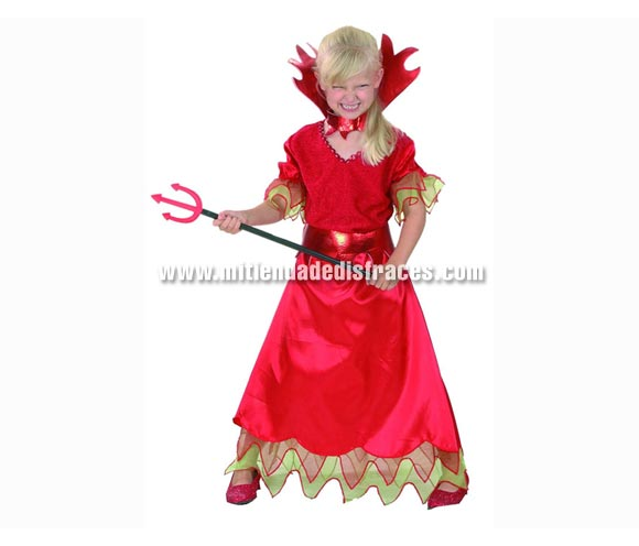 Disfraz de Diablesa económico talla de 5 a 6 años. Incluye vestido, cinturón y cuello. Tridente NO incluido, podrás verlo en la sección de Complementos.
