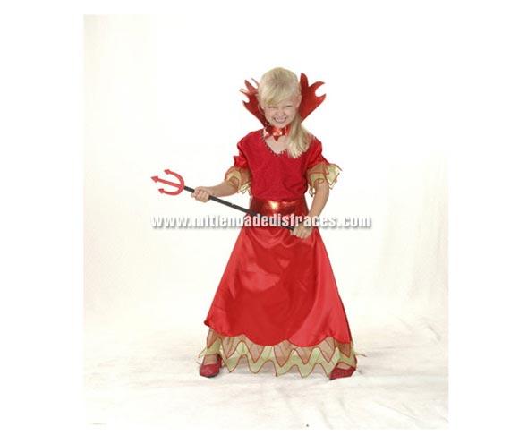 Disfraz de Demonia o Diablesa económico talla de 10 a 12 años. Incluye vestido, cinturón y cuello. Tridente NO incluido, podrás verlo en la sección de Complementos.