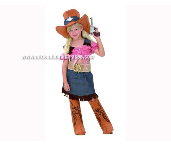 Disfraz de Cowgirl o Vaquera talla de 7 a 9 años. Incluye camisa, falda, sombrero, cinturón y cubrebotas.