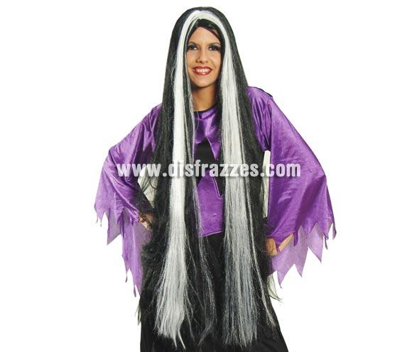 Peluca extra-larga negra con mechas blancas para Halloween. Peluca de Morticia extra larga.