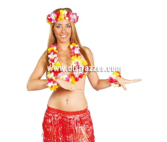 Conjunto Hawaiano EXTRA. Incluye muñequeras, cinta y collar.