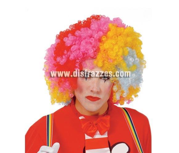 Peluca Payaso de rizos gigante multicolor para Carnaval.