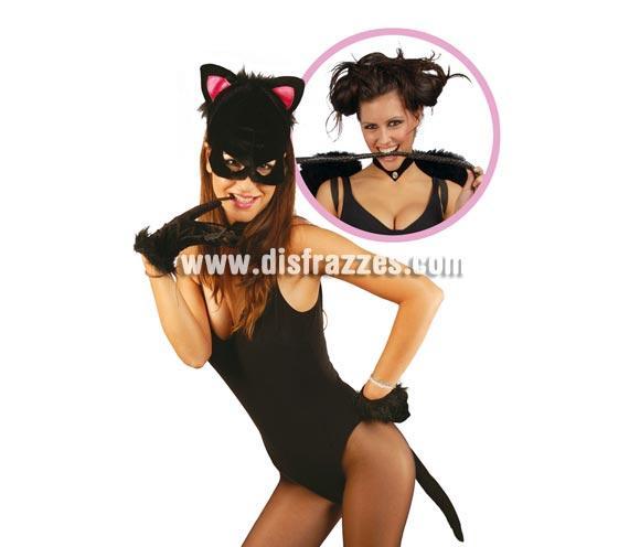 Conjunto gatita lujo de terciopelo. Incluye máscara, collar, guantes y cola. Perfecto para Despedidas de Soltera.