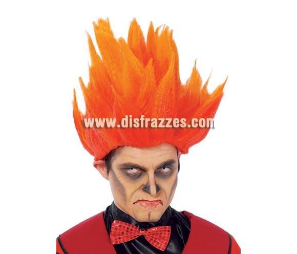 Peluca de Fuego para Halloween o para Carnaval. La habrás visto también en la tele en algún partido de la Selección. Parece el pelo de Son Goku cuando se enfada.