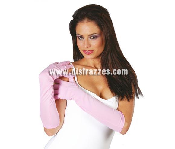 Par de guantes largos rosas 45 cm.