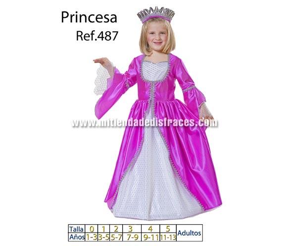 Disfraz de Princesa Fucsia infantil. Varias tallas. Incluye vestido y corona. Buena calidad, hecho en España.