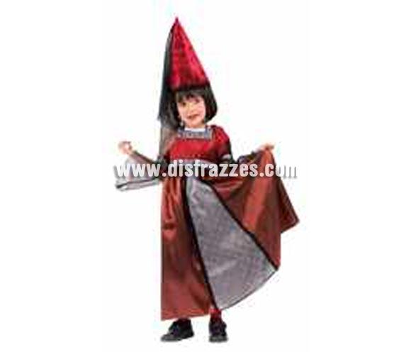 Disfraz de La Princesa Medieval Encantada infantil. Talla de 1 a 2 años. Incluye vestido y sombrero con velo.