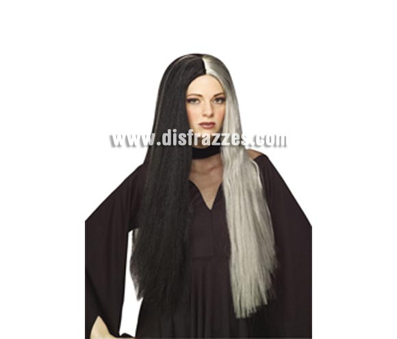 Peluca de Bruja Noble blanca y negra para Halloween.
