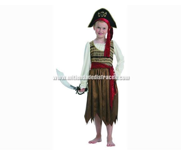 Disfraz de Pirata amarillo niña talla de 4 a 6 años. Incluye camisa, falda, sombrero y cinturón.