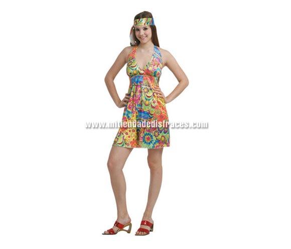 Disfraz de Hippie sexy mujer adulta. Talla Standar M-L = 38/42. Incluye vestido y tocado.
