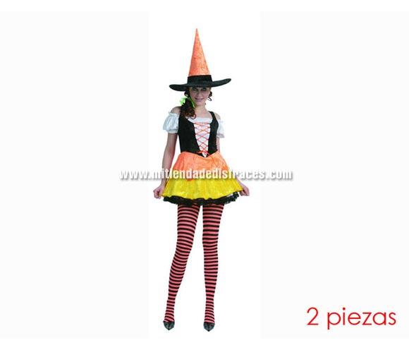 Disfraz de Bruja Alegre Adulta económico. Talla Standar M-L = 38/42. Incluye sombrero y vestido.