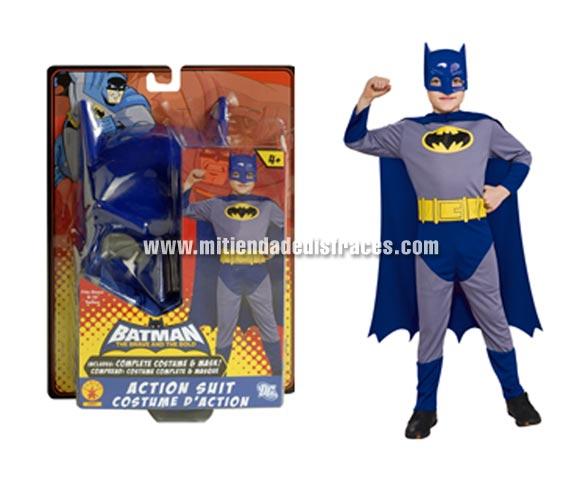 Disfraz de Batman THE BRAVE AND THE BOLD ACTION SUIT. Talla de 8 a 10 años. Incluye disfraz impreso, capa y máscara. Presentación en blister para regalo. Un disfraz con licencia ideal para regalar en Navidad y en cualquier fecha del año.