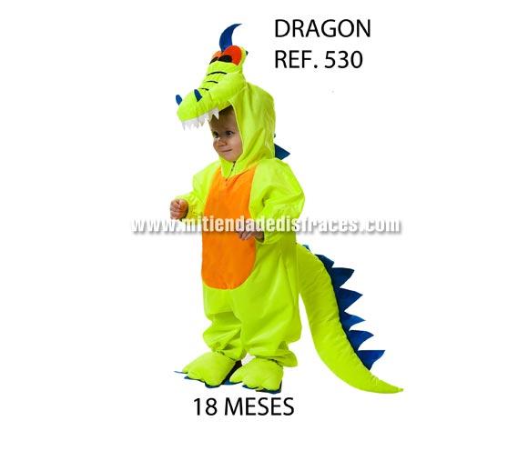 Disfraz de Dragón para niños de 18 meses. Incluye disfraz completo con capucha. Buena calidad, hecho en España. Un disfraz diferente, original y muy colorido para que tu hijo/a sea el centro de todas las miradas. ¿Te has fijado en el precio?