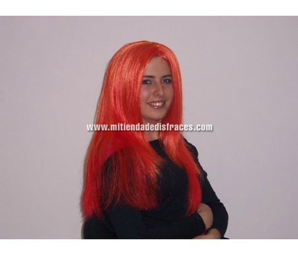 Peluca mechas naranja y rojo. Muy buena calidad. Fabricada en España. Talla universal.
