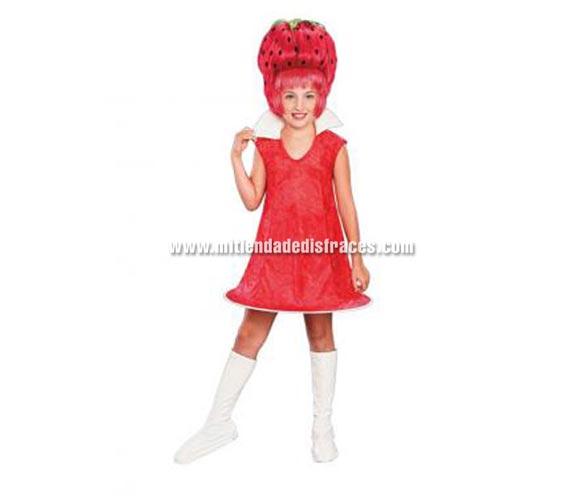 Disfraz de Fresita infantil para Carnaval. Varias tallas. Incluye vestido, cubrebotas y peluca.