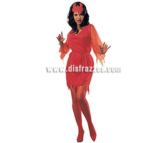 Disfraz de Diablesa o Demonia adulta para Halloween barato. Talla estándar M-L = 38/42. Incluye vestido, cinturón y tocado. Medias NO incluidas, podrás verlas en la sección Complementos.