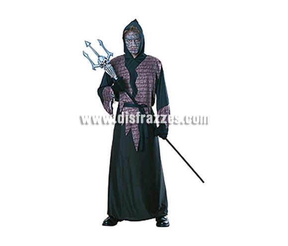 Disfraz de Mortar, EL EXORCISTA adulto para Halloween. Talla estándar. Incluye disfraz con capucha y cinturón. Tridente NO incluido.