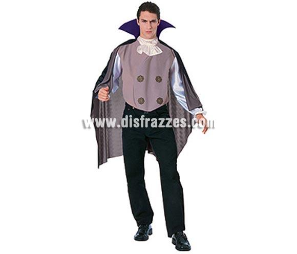 Disfraz de Vampiro Top o Drácula adulto para Halloween. Talla estándar. Incluye camisa, capa y chaleco con cuello alto.