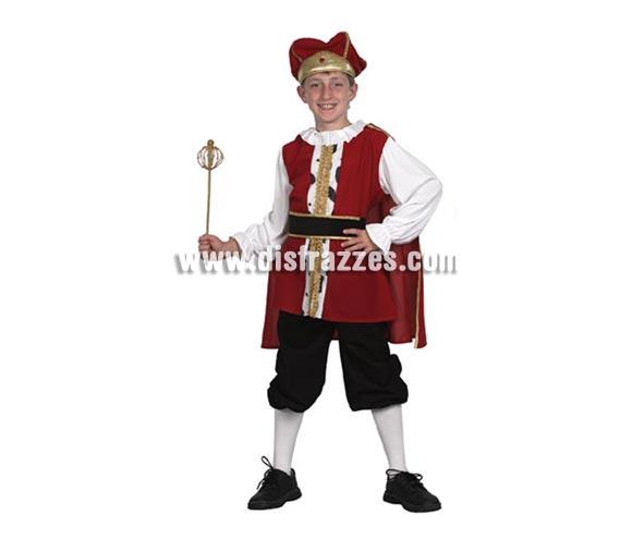 Disfraz de Rey Medieval barato para niño. Talla de 5 a 6 años. Incluye camisa, cinturón, capa, pantalón y sombrero.