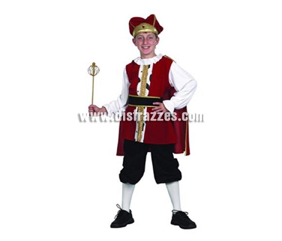 Disfraz de Rey Medieval barato para niño. Talla de 7 a 9 años. Incluye camisa, cinturón, capa, pantalón y sombrero.