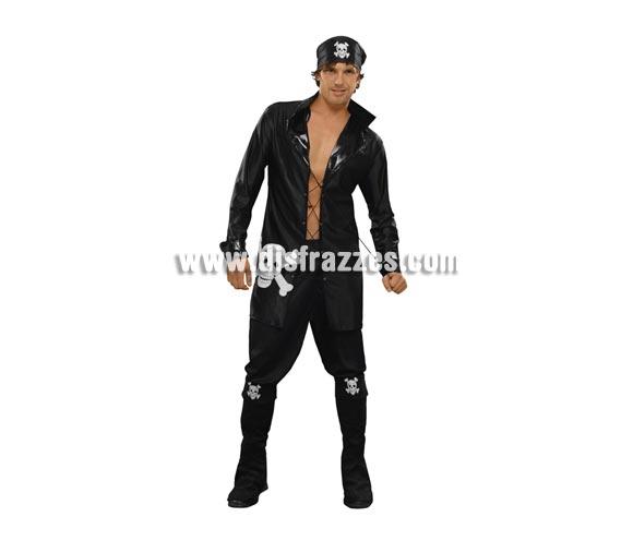 Disfraz barato de Pirata Macarra para hombre. Talla Standar M-L = 52/54. Incluye pañuelo, chaqueta y cubrebotas. Arcabuz NO incluido, podrás verlo en la sección de Complementos. Pantalón NO incluido.