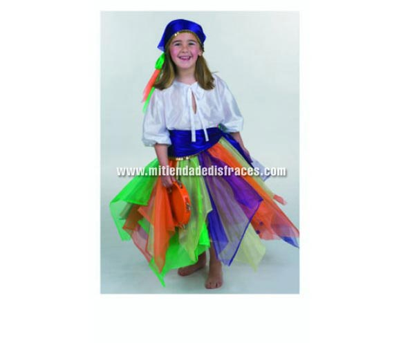 Disfraz de Zíngara Especial talla de 1 a 3 años. Alta calidad. Hecho en España. Incluye pañuelo cabeza, camisa, falda y pañuelo cintura. Pandereta NO incluida.
