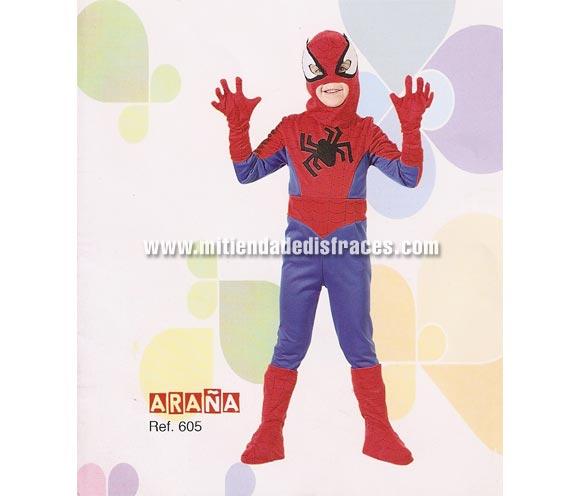 Disfraz de Hombre Araña infantil. Disponible en varias tallas. Buena calidad, hecho en España. Incluye mono completo, máscara y guantes.