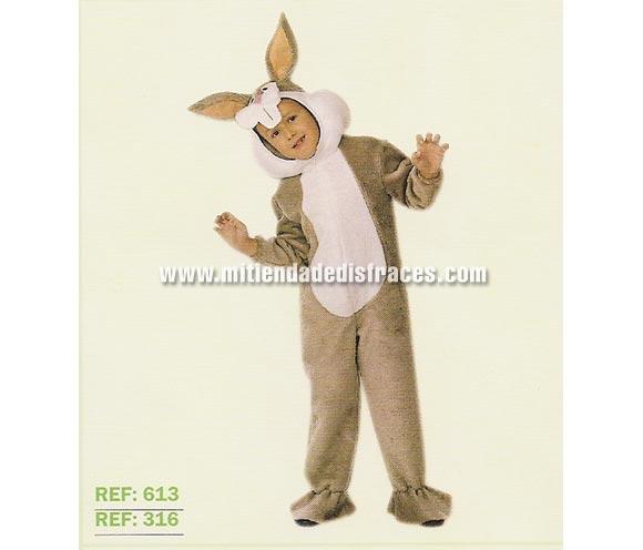 Disfraz de Conejo infantil. Varias tallas. Alta calidad, hecho en España. Incluye mono y cabeza. Un disfraz muy calentito para el Carnaval. Para disfrazarse y ser igual que Bugs Bunny.