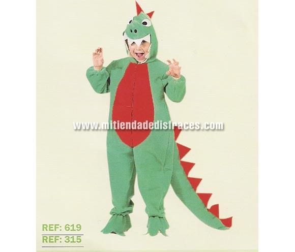 Disfraz de Dragón o Dinosaurio infantil. Varias tallas. Alta calidad, hecho en España. Incluye mono y cabeza. Un disfraz muy calentito para Carnaval.