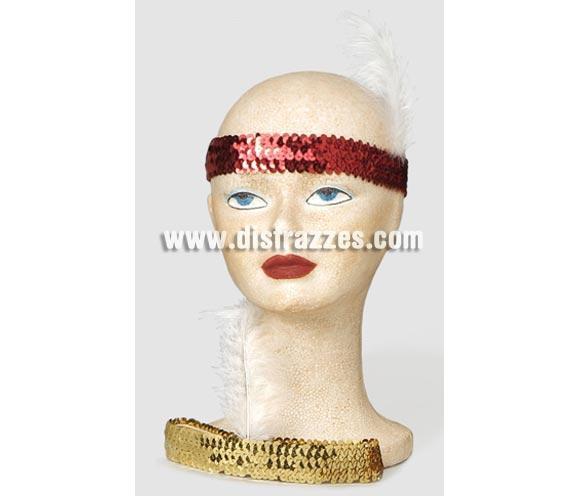 Cinta lentejuelas Charlestón roja para Carnaval.