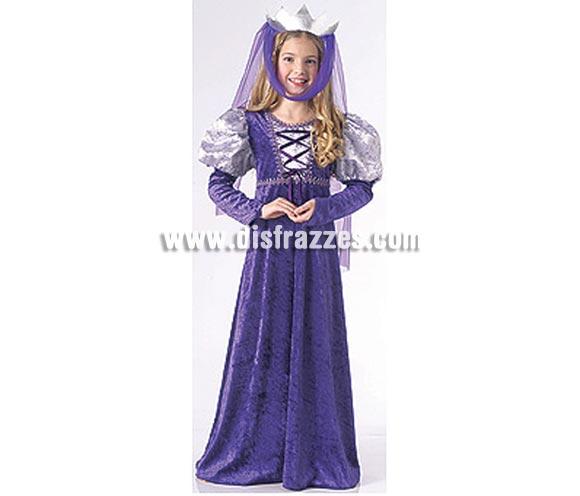 Disfraz de Reina Medieval infantil. Talla de 5 a 7 años. Incluye vestido y tocado para la cabeza.