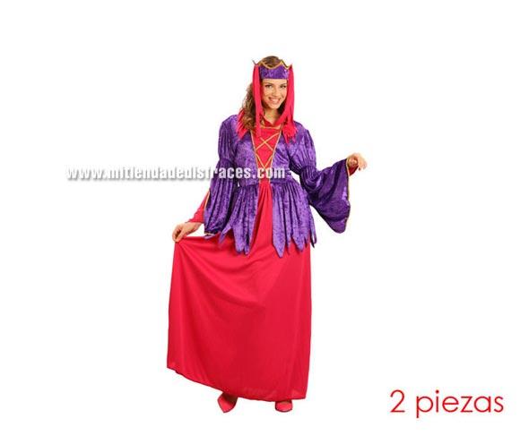 Disfraz de Princesa Medieval adulta. Talla Standar M-L = 38/42. Incluye vestido y tocado.