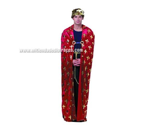 Disfraz de Rey Medieval adulto. Talla standar M-L = 52/54. Incluye vestido, capa, cinturón y corona de tela.