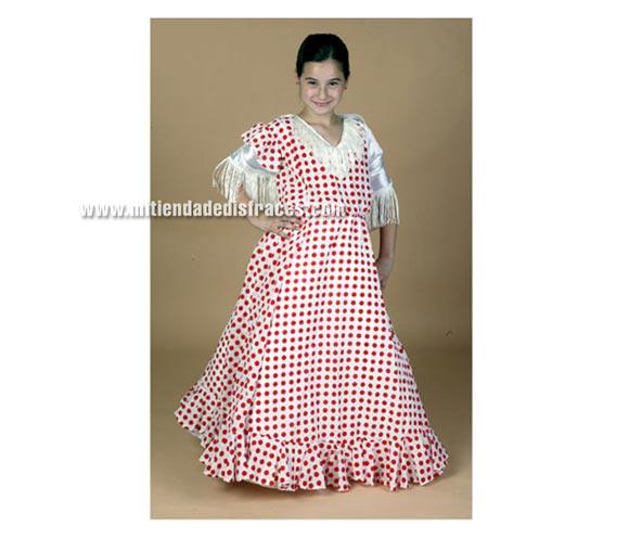 Disfraz de Sevillana niña talla de 7 a 9 años. Incluye vestido y pañuelo.