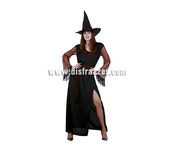 Disfraz de Bruja telarañas rojas adulta para Halloween barato. Talla estándar 38/42. Incluye vestido, sombrero y cinturón.